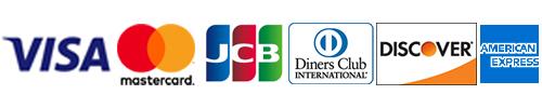 VISA、master、JCB、ダイナース、ディスカバー、アメリカンエクスプレス